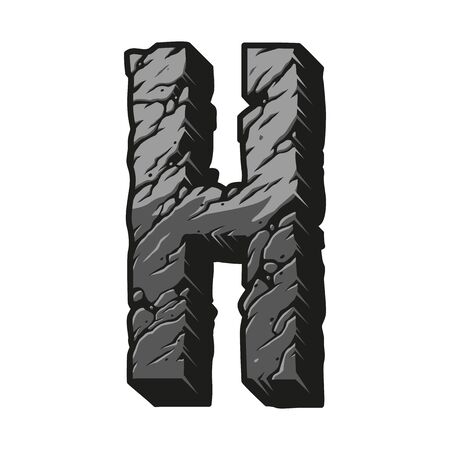 Desert vintage letter H gray template with cracked earth surface isolated vector illustration