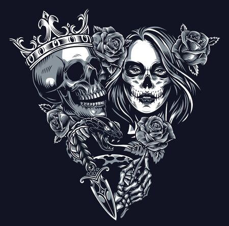 Vintage chicano tattoo concept in triangle shape with skull in crown snake dagger skeleton hand holding rose and girl head with sugar skull makeup isolated vector illustration  イラスト・ベクター素材