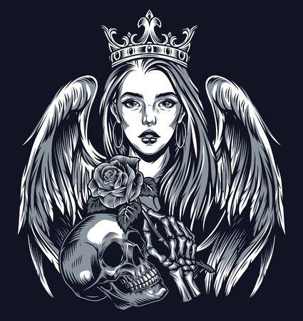 Koncepcja stylu chicano w stylu vintage tatuaż z piękną dziewczyną w koronie z anielskimi skrzydłami, czaszką i szkieletową ręką trzymającą różę na białym tle ilustracji wektorowych