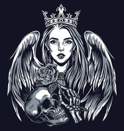 Vintage tattoo chicano style concept with beautiful girl in crown with angel wings skull and skeleton hand holding rose isolated vector illustration