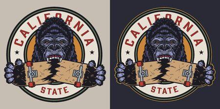 Vintage colorful skateboarding round print with ferocious gorilla holding broken skateboard isolated vector illustration