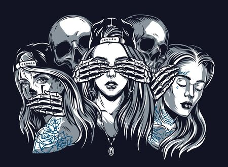 Chicano tattoo style vintage concept with see hear speak no evil composition isolated