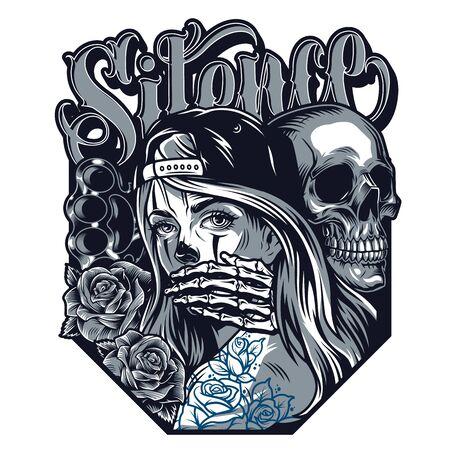 Concepto de estilo de tatuaje chicano con inscripción de silencio, nudillos de bronce, esqueleto de rosas que cubre la boca de una hermosa niña con gorra de béisbol en la ilustración aislada de estilo vintage Ilustración de vector