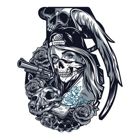 Vintage chicano tattoo template in grenade shape with girl in scary mask and baseball cap cat skull roses angel wing revolver brass knuckles money banknotes isolated illustration