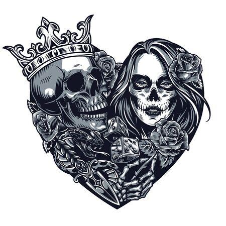Chicano-Stil Tattoo-Vorlage in Herzform mit Totenkopf in Krone Würfel Dolch Schlange Skelett Hand hält Rosenmädchen mit Day of Dead Make-up im Vintage-Stil isoliert Illustration