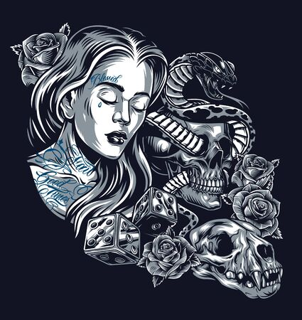 Vintage chicano style tattoo concept with pretty girl snake entwined with skull beautiful roses dice and cat skull isolated illustration