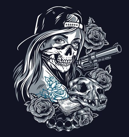 Chicano tattoo vintage concept with girl in baseball cap and scary mask cat skull gun roses brass knuckles money banknotes isolated illustration Stock Illustratie
