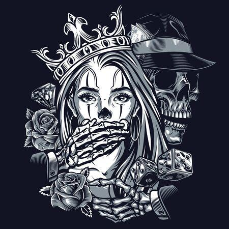 Concept vintage de tatouage de style chicano avec squelette de diamant de roses de dés dans un chapeau fedora couvrant la bouche d'une fille dans une illustration isolée de la couronne ornée