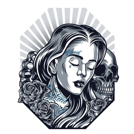 Chicano tattoo vintage template with sad beautiful girl skull roses and brass knuckles on radial background isolated illustration