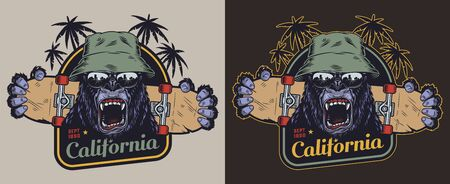 Colorful skateboarding vintage label with ferocious gorilla head in hat and sunglasses palm trees and animal claws holding skateboard isolated illustration