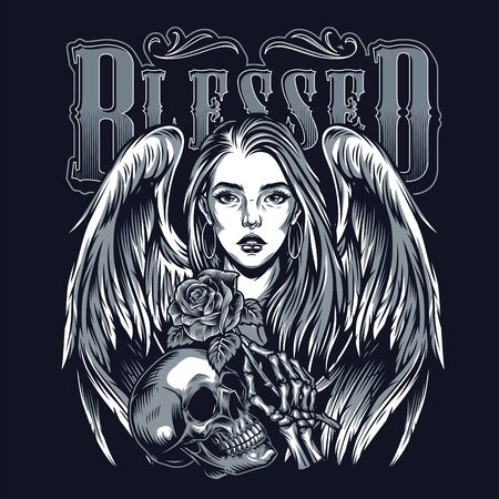 Chicano tattoo template with pretty girl with angel wings skull and skeleton hand holding rose in vintage style isolated illustration 스톡 콘텐츠 - 136450611