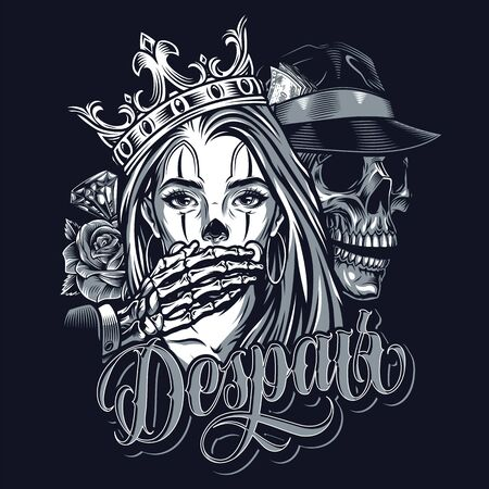 Vintage chicano style tattoo template with diamond roses skeleton in fedora hat covering mouth of girl in crown isolated illustration 向量圖像