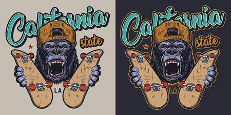 Colorful skateboarding badge with aggressive gorilla in backwards baseball cap holding skateboards in vintage style isolated illustration