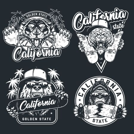 Vintage skateboarding prints with aggressive animals heads with skateboards in monochrome style isolated illustration