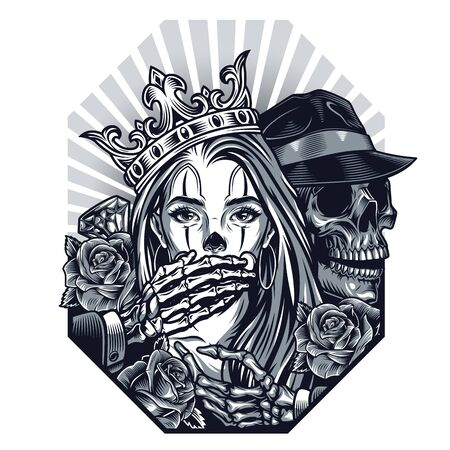 Chicano tattoo vintage template with roses diamond gangster skeleton covering mouth of beautiful girl in crown isolated illustration