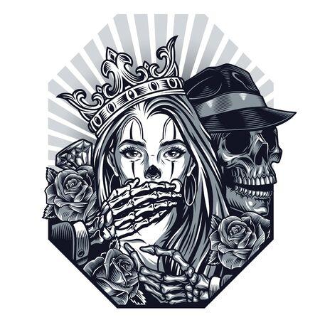 Plantilla vintage de tatuaje chicano con esqueleto de gángster de diamantes de rosas que cubre la boca de una niña hermosa en una ilustración aislada de corona