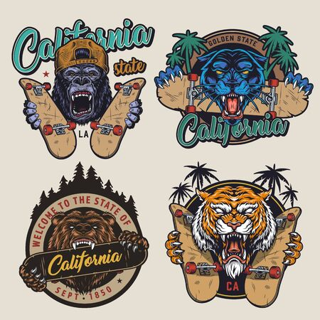 Vintage skateboarding colorful logotypes with angry aggressive gorilla black panther bear tiger heads skateboards forest landscape palm trees isolated illustration