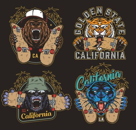 Colorful skateboarding vintage logos with skateboards inscriptions palm trees and cruel ferocious animals heads isolated illustration