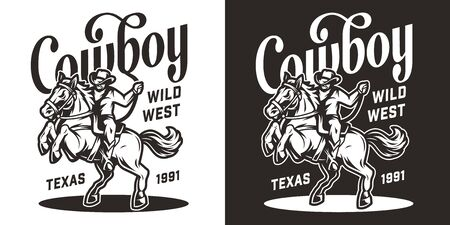 Vintage wild west monochrome print with cowboy riding horse isolated vector illustration
