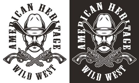 Monochrome vintage wild west emblem with mustached man head in cowboy hat and crossed guns isolated vector illustration