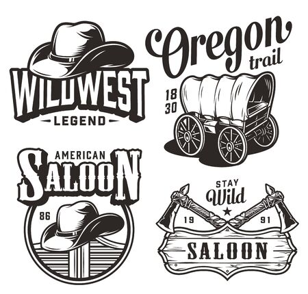 Vintage wild west emblems set with cowboy hats saloon swinging doors signboard crossed tomahawks old wagon isolated vector illustration