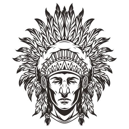 Vintage monochrome indian chief head with feathers headwear isolated vector illustration