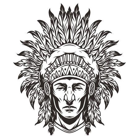 Vintage monochromer indischer Häuptling Kopf mit Federn Kopfbedeckungen isolierte Vektorillustration Vektorgrafik