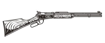 Old wild west american rifle on white background isolated vector illustration