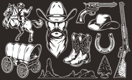 Vintage monochrome wild west elements collection with old cart horseshoe cowboy head boots hat weapon flint arrowhead desert mountains landscape rider and horse isolated vector illustration