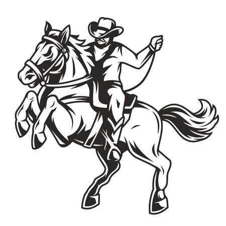 Cowboy riding horse vintage concept in monochrome style isolated vector illustration