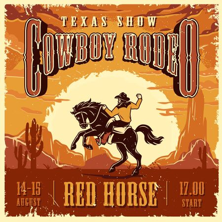 Cowboy rodeo show advertising template with inscriptions rider and horse on desert landscape vector illustration