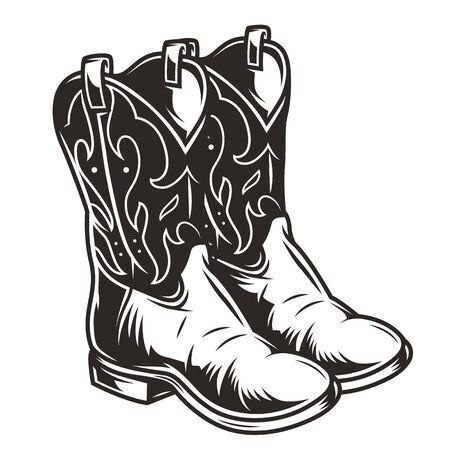 Vintage cowboy boots concept in monochrome style isolated vector illustration