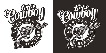 Vintage wild west round label with different inscriptions and revolver in monochrome style isolated vector illustration Ilustracja