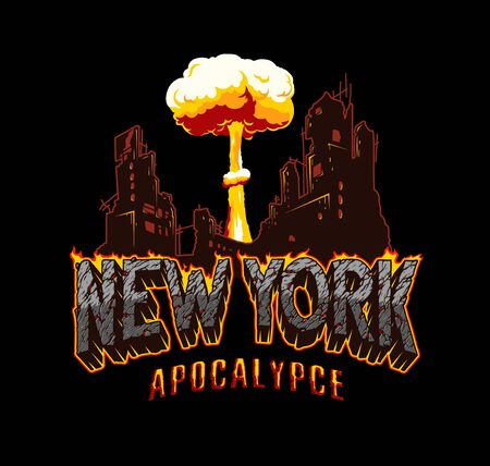 New York apocalypse explosive vintage concept with desert style lettering demolished city and nuclear explosion isolated vector illustration