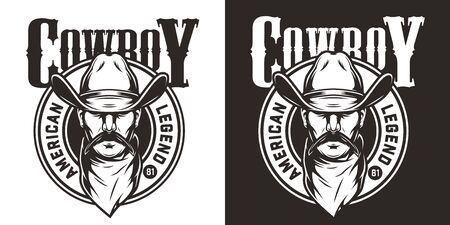 Monochrome wild west label with mustached man head in cowboy hat and scarf in vintage style isolated vector illustration