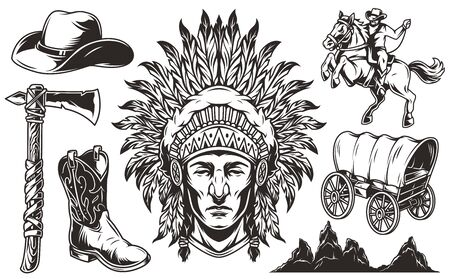 Vintage wild west monochrome elements set with indian chief head old wagon cowboy hat boot tomahawk rider riding horse desert hills and mountains landscape isolated vector illustration