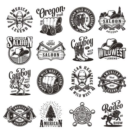 Vintage wild west emblems with cowboys hats boots saloon doors signboard smoking pipes guns rifles sheriff badge tomahawks old wagon flint arrowhead rider and horse isolated vector illustration