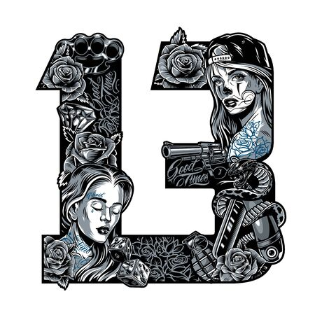 Vintage chicano style tattoo concept in thirteen number shape with pretty girls roses brass knuckles diamond dice revolver grenade snake entwined with straight razor isolated vector illustration