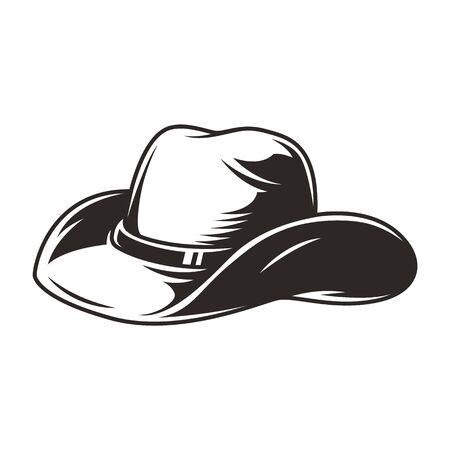 Elegant cowboy hat vintage concept in monochrome style isolated vector illustration
