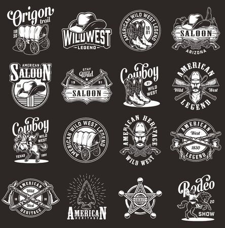 Vintage monochrome wild west labels set with cowboy rodeo native american indian emblems and badges isolated vector illustration