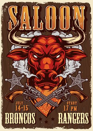 Wild west saloon advertising poster with angry red bull head in smoke crossed guns sheriff badges in vintage style vector illustration