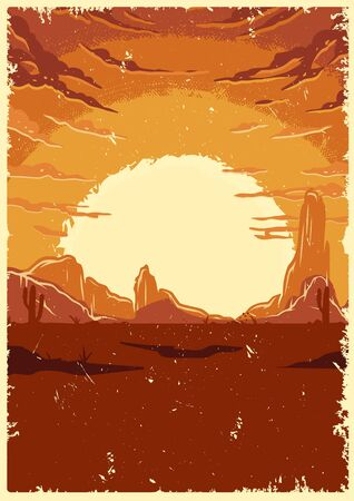 Desert landscape vintage colorful template with mountains sunset and clouds vector illustration