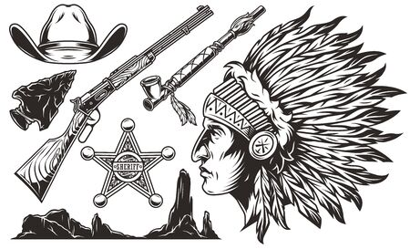 Vintage wild west elements set with cowboy hat flint arrowhead rifle sheriff badge smoking pipe desert mountains indian chief head with feathers headdress isolated vector illustration