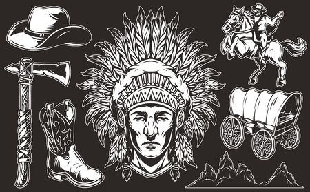 Vintage wild west elements collection with cowboy riding horse hat boot tomahawk old cart desert mountains silhouettes indian chief head with feathers headwear isolated vector illustration Ilustracja