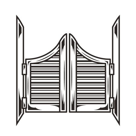 Vintage saloon wooden swinging doors concept in monochrome style isolated vector illustration