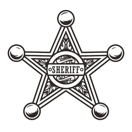 Vintage sheriff badge star concept in monochrome style isolated vector illustration