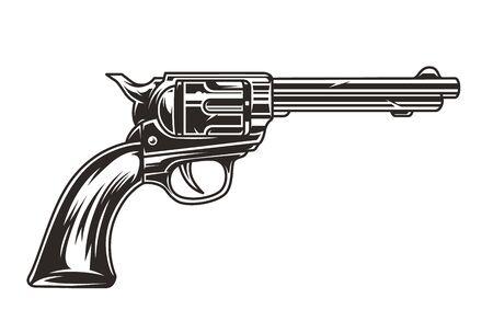 Modello monocromatico di pistola da cowboy vintage isolato illustrazione vettoriale
