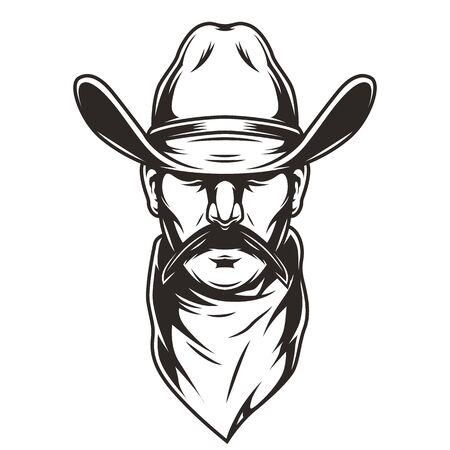 Man head in cowboy hat concept with scarf and mustache in vintage monochrome style isolated vector illustration