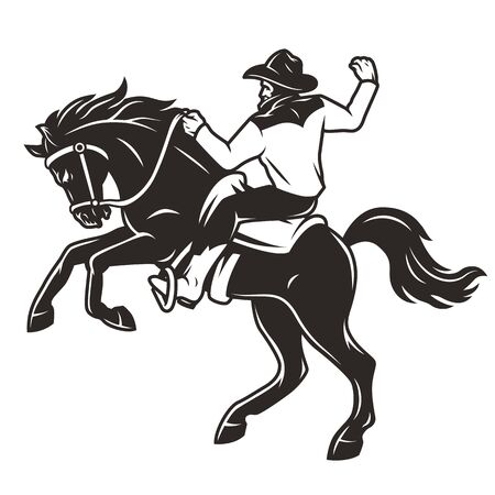 Rider in cowboy hat riding horse in vintage monochrome style isolated vector illustration