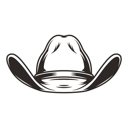 Cowboy hat front view template in vintage monochrome style isolated vector illustration Stock Illustratie